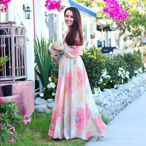 CHICWISH Spring Scenery Floral Maxi Dress Size M